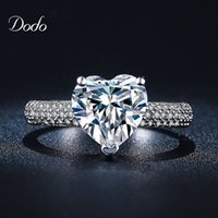 antique diamond band - Heart shape white gold plated jewelry Ring antique CZ diamond crystal wedding band Engagement Rings for women girls bijoux DR048