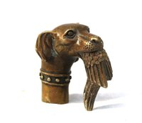 antique walking canes - Chinese Old Bronze Hand Carved Dog Bitten Birds Statue Cane Walking Stick Head