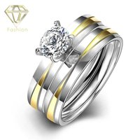 Wholesale Modern Engagement Rings Romantic Gold Silver Color Over L Stainless Steel Ring with Cubic Zirconia Fashion Jewelry for Women