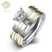 Modernes Bagues de fiançailles romantique Goldsilver Couleur Plus de 316L Bague en acier inoxydable avec Cubic Bijoux zircon Mode pour femmes