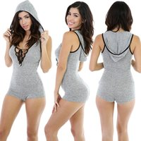 Wholesale 2016 Hot Sexy Women V neck Jumpsuit Clubwear Rompers Short Sleeves Slim Gray Thin Basic Bandage Jumpsuit Rompers Outfit Q020