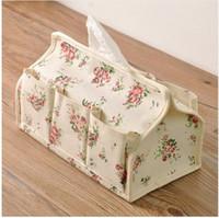 beige linen napkins - Flowers Pattern Tissue Box Pocket Linen Fabric Tissue Case Napkin Paper Table Decoration Accessories FTB1126