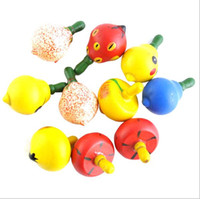 Wholesale Fruit Gyro wooden toys for children wooden gyro small little hand rotation wooden toy Spinning Tops Fr Baby Kids toy