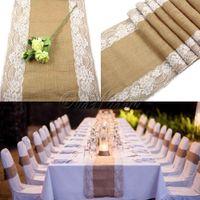 Wholesale 10pcs x275cm Vintage Burlap Lace Hessian Table Runner Natural Jute Country Party Wedding Decoration