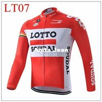 Wholesale Tour de france long sleeve cycling clothing lotto orange cycling jacket clothing jersey size XS XL long sleeves tops