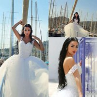 Cheap 2016 Saudi Arabic Ball Gown Wedding Dresses Said Mhamad Off the Shoulder Flower Straps Puffy Vestidos De Noiva Plus Size Bridal Gowns