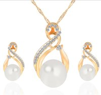 Wholesale New high quality crystal pendant necklace and earrings Sets colar feminino high grade fashion pearl jewelry set