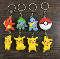 Wholesale new poke Keychains Pikachu cartoon doll pendant key ring chain ring key chain doll gift