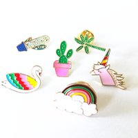 asian unicorn - X141 Cartoon Cute Hand Unicorn Cactus Fish Shell Swan Metal Brooch Pins Button Pins Jeans Bag Decoration Brooches Gift