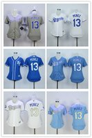 babies city - Salvador Perez Women Jersey Kansas City Royals Girl Jerseys Gold World Series Patch White Baby KC Blue S M L XL XL