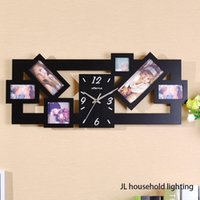aperture photo - New Black Multi Picture Photo Frame Large Number Wall Clock Time Aperture Collage MODERN Home Office Decor