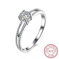 Wholesale R085 Sterling Silver Fashion wedding Jewelry birng square crystal stone silver ring for women wedding fine jewelry