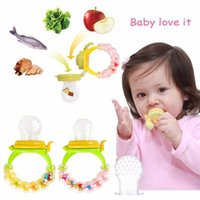 baby food holder - Baby Nibble Pacifier Holder Fresh Food Feeder Bell Baby Pacifier Clips Attache Sucette Baby Nipple Teat Pacifier Bottles