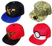 Wholesale Poke Pikachu baseball cap Pikachu cartoon sun hats Benn travel cap infant Baseball hat birthday present E287