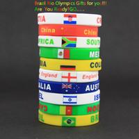 Wholesale National flag Silicone Strap Brazil Olympic Games Rio DeJaneir Sport Bracelets for Women Men Wrist Wrap Fashion Wearable Bracelets ps