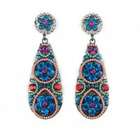Wholesale 2016 new products victoria styles ladies earrings colorful crystal stones flower shape fashional women earring beautiful jewelry