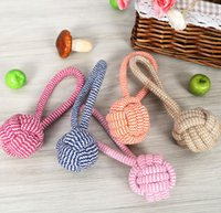 Wholesale DHL Pet Cotton Woven Rope Ball Cats Dogs Teeth Cleaning Chew Toys Knot Toy dogs puppy chew play toys