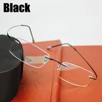 Wholesale 2016 New Brand Titanium Ultra Light Rimless Glasses Frame Eyeglasses Men women With Original Case Oculos de grau
