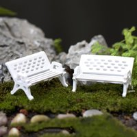 bench garden seat - 1 New White Park Bench Seat Moss Bottle Micro Landscape Ecology Accessories Perfect for Any Miniature Garden fairy World