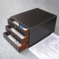 Wholesale Hot layer drawer wood structure leather desk filing cabinet storage box office organizer document container Brown A