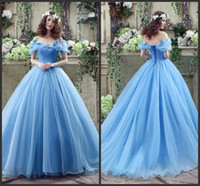 Wholesale Off The Shoulder Blue Ball Gown Wedding Dresses KR Sleeveless Lace Up Back Sweep Train Tulle Bridal Gowns With Butterfly In Shoulders