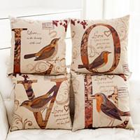 backrest pillows - New Carden Cotton linen Pillow Case cute bird LOVE letter pattern Backrest Pillow case Zipper office sofa pillow case Home Textiles A9440