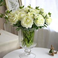 Wholesale quot H heads short shoot camellia tea rose valentine s day gift decorative flowers simulation flower