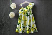 Cheap 2016 New Girl Summer Lemon Sling Dress NEW Children Cartoon Print sleeveless vest Lemon leaf princess dresses C958