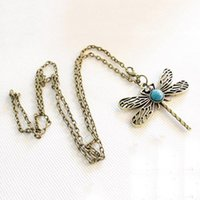 Wholesale 1pc Fashion Women s Retro Necklace Hollow Vintage Round Wooden Dragonfly Style Necklace Long Chain Pendant Necklace QJ