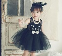 korean kids clothes - Girls Korean Lace Tulle Vest Dresses Princess Summer Kids Lovely Pleated Sleeveless Girl Cute Cat Bowknot Clothes White Pink Black B4045