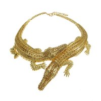 Wholesale Fashion designer luxury jewelry animal shaped crocodile cuff choker necklace with crystals hot sale