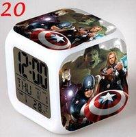 america alarm - 300pcs CCA2470 Styles Super Hero Reveil Led Table Clock The Avengers Ironman Captain America Hulk Thor Black Widow Hawkeye Alarm Clock
