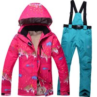 Wholesale new style winter ski suit sets women skiing jacket pants outdoor thickening warm waterproof windproof snow clothes