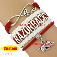 arkansas razorbacks - Infinity Love Razorbacks bracelet Arkansas Bracelet Custom Sports Team Cheer Team Bracelet Red White Man Woman Girl Gift Drop Shipping