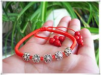 Wholesale Fashion exquisite atmosphere in hand knitting red string bracelet with five dorme crystal bracelet Benmingnian red rope bracelet