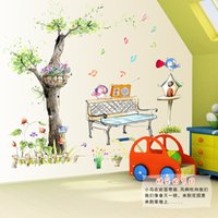 bedroom benches - Listen to the music of the birds leisure time fresh hand painted style wall stickers note floats in potted garden bench