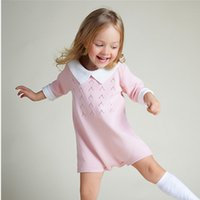 Wholesale 1 Y Baby Rompers Sweater Autumn Girls Three Quarter Open Crotch Cotton Knitted Pink Green Jumpsuits Dress Kids Clothes mamelucos