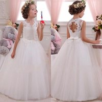 Wholesale Flower Girl Dresses Ball Gown Jewel Neck Lace Appliqued Backless Long Girl Pageant First Communion Gowns