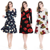 apparel clothing plus size - 3XL XL XXXXL autumn womens new floral dresses long sleeve A line bodycon dress sweetheart casual plus size clothing Ameiran apparel