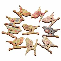 Wholesale 50Pcs Mixed Colorful Lovely Birds Shaped Wooden Buttons Holes Fit Sewing Embellishment DIY Craft For Clorhes Decoration Gift