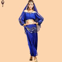 Wholesale Belly Dancing Top amp Pants amp Veil amp Waist Chain Indian Dress Skirt Belly Dance Hip Scarf Costume For Belly