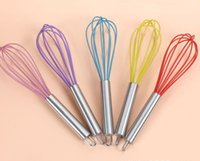 Wholesale Newest Wire Whisk Stirrer Mixer Hand Egg Beater COLOR SILICONE EGG WHISK STAINLESS STEEL HANDLE