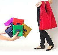 Wholesale Baggu Tote Bags Candy Colors Reusable Shopping Bag Portable Folding Pouch Lunch Bag Purse Handbag Enviorment Safe Go Green