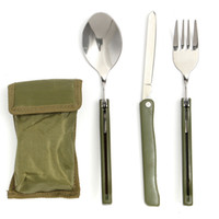 bbq day - Portable in Outdoor Folding Knife Fork Spoon Utensil Tableware Set Family Day BBQ Travel Camp Pinic Trip Useful Good Helper