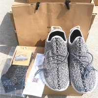 Wholesale 1 Quality Men Women Kanye West Boost Sneakers Shoes Pirate Black Moonrock Oxford Tan Turtle Dove Keychain Socks Bag Receipt Boxes
