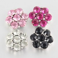 Wholesale 18mm Metal Crystal Rhinestone Snap Button Charm Button Snaps NOOSA Chunk Ginger Snaps Button DIY Jewelry Accessory Mix Styles K13L