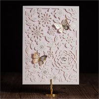 Wholesale Laser Cut Wedding Invitation White Hollow Flower Birthday Invitations Butterfly Wedding Favors with Envelopes