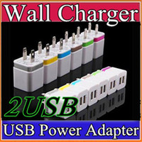 Wholesale Metal Dual USB wall Charging Charger US EU Plug A AC Power Adapter Wall Charger Plug port for Iphone Samsung Galaxy Note LG Tablet G SC