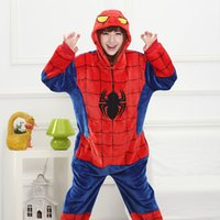 animal hoodie pajamas - Spider man Red Blue Adults Animal Pajamas New Style Hoodies Long Sleeve Unisex Adults Flannel Warm Sleepwear Onesies Cosplay Costumes