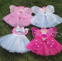 Wholesale 3 color LJJK266 Kid Girl Butterfly Wings Wand Headband Tutu Skirt Cosplay Fancy Costume Set Party Cosplay Costume Princess Girl Kid